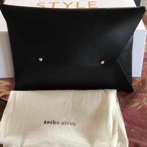 NWT Tribe Alive Black Leather Clutch Rachel